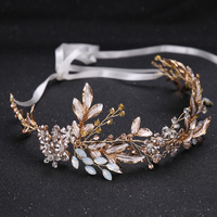 Duolafine Handmade Golo Color Leaf Headpiece Wedding Hair Accessories Crystal Bride Tiara Headbands Hair Jewelry FD562