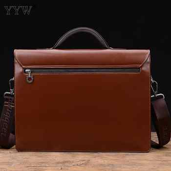 Business Male Bag Men\'S Executive Briefcase Black Portfolio Tote Bags For Men Synthetic Pu Leather Handbag A Case For Documents