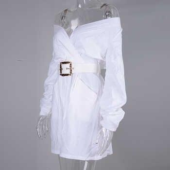 NewAsia Off Shoulder Sexy Dress Women Party Autumn Dress 2019 Long Puff Sleeves Ornate Belt White Dresses Mini Wrap Dress Beige