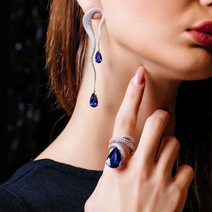 Image 1 - GODKI Luxury Engagement Wedding Snake Winding Wrap Ring for Women Bridal Cubic Zircon Dubai Accessories Finger Ring Jewelry 2019