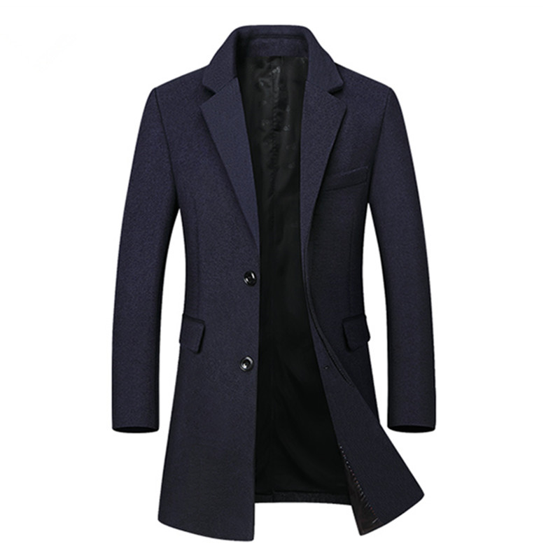 2018 Winter New Arrival Men's Casual High Quality Woolen Trench Coat Men Business Coats Men's Wool Overcoat Jackets Men