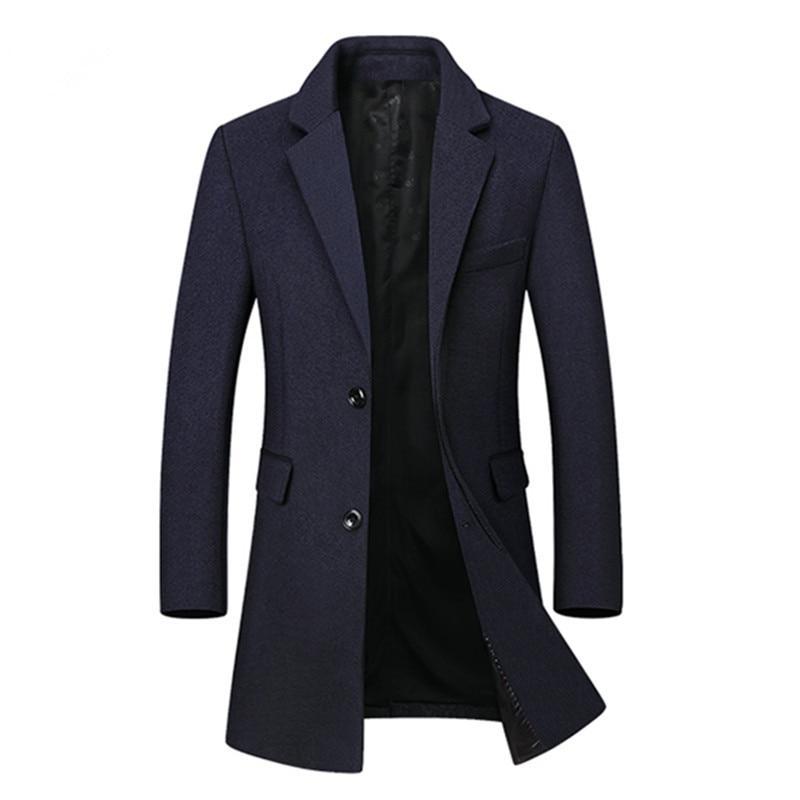 2018 Winter New Arrival Men's Casual High Quality Woolen Trench Coat Men Business Coats Men's Wool Overcoat Jackets Men