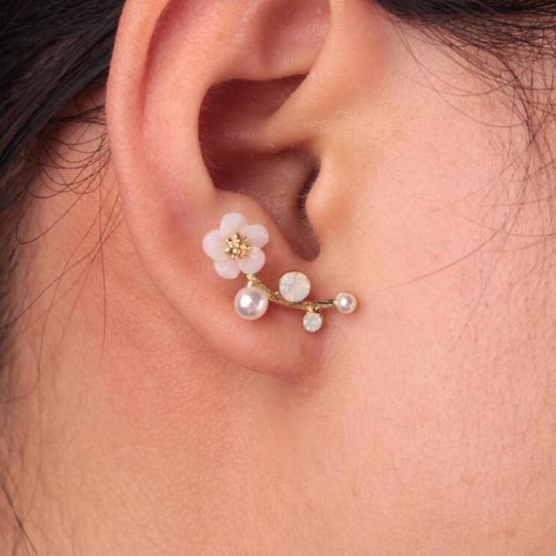 Hot Sale Earrings Fashion Jewelry Imitation Pearl Shell Flower Leaves Branches Gift  Earrings For Women