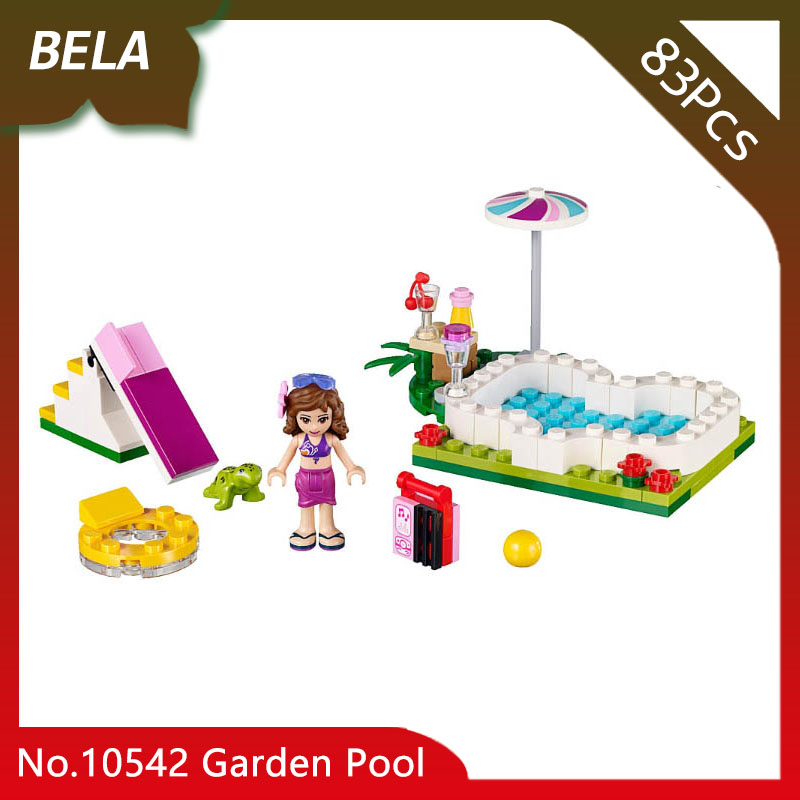 Bela 10542 83Pcs Friends Series Garden Pool Model Building Blocks Sets Kids Toys For Exquisite Birthday Gifts Compatible 41090