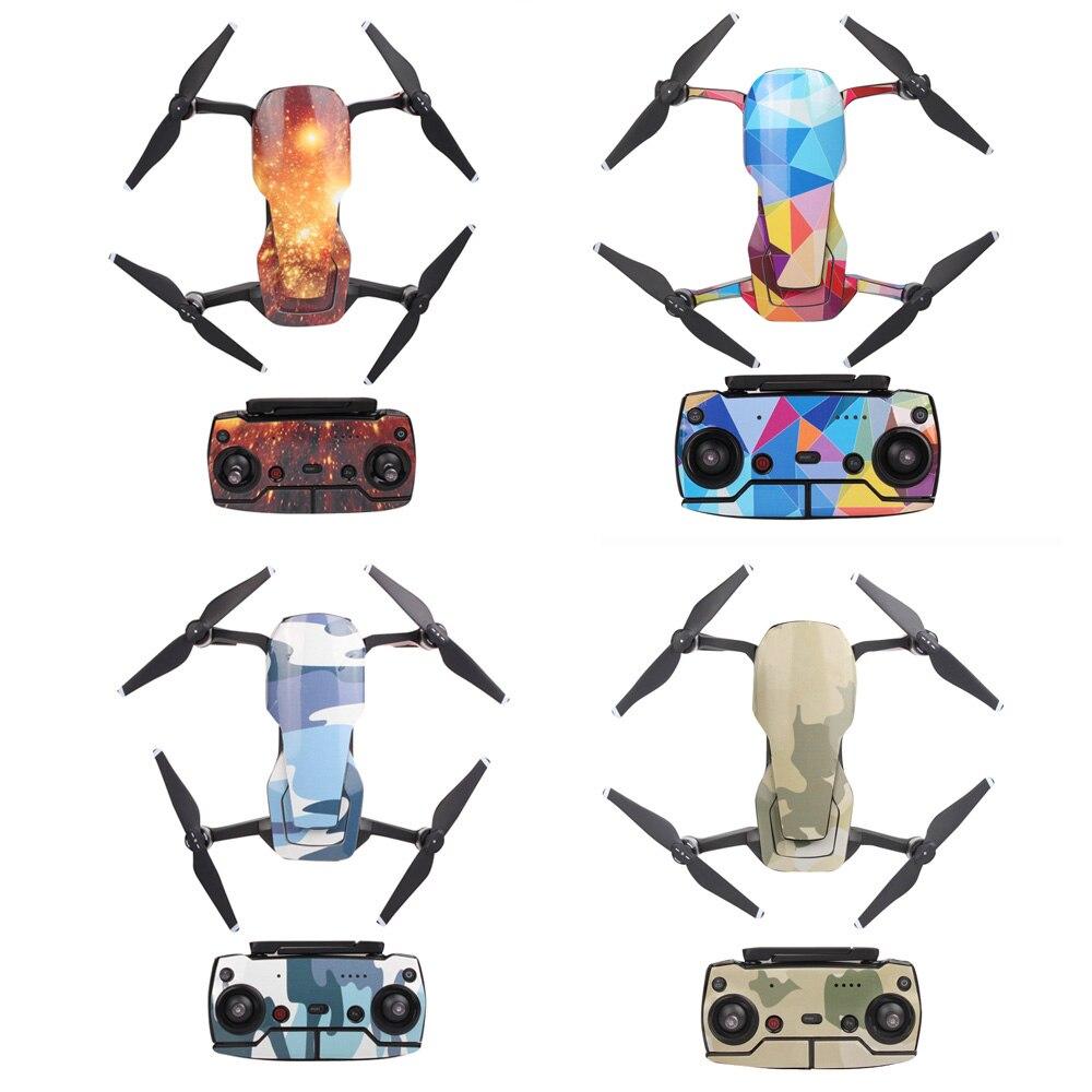 Calcomanías de cuerpo de control remoto de batería de piel de conjunto completo de pegatinas de PVC resistentes al agua para DJI MAVIC AIR Camera Drone Accesorios