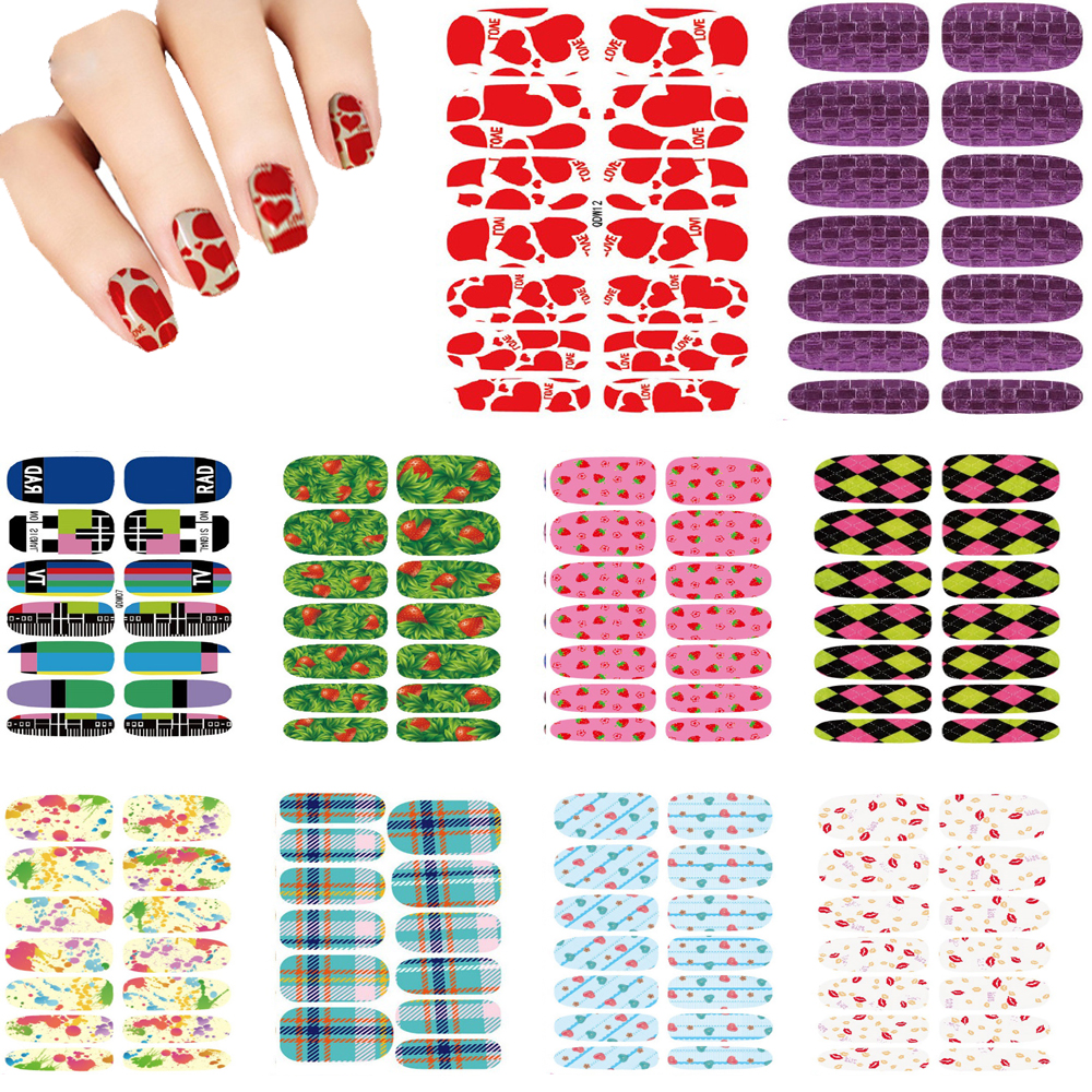 10pcs Set New Fashion Water Transfer Nails Art Sticker Fashion Deed Red Love Hearts Decor Decals Wraps Foil Stickers for Nail