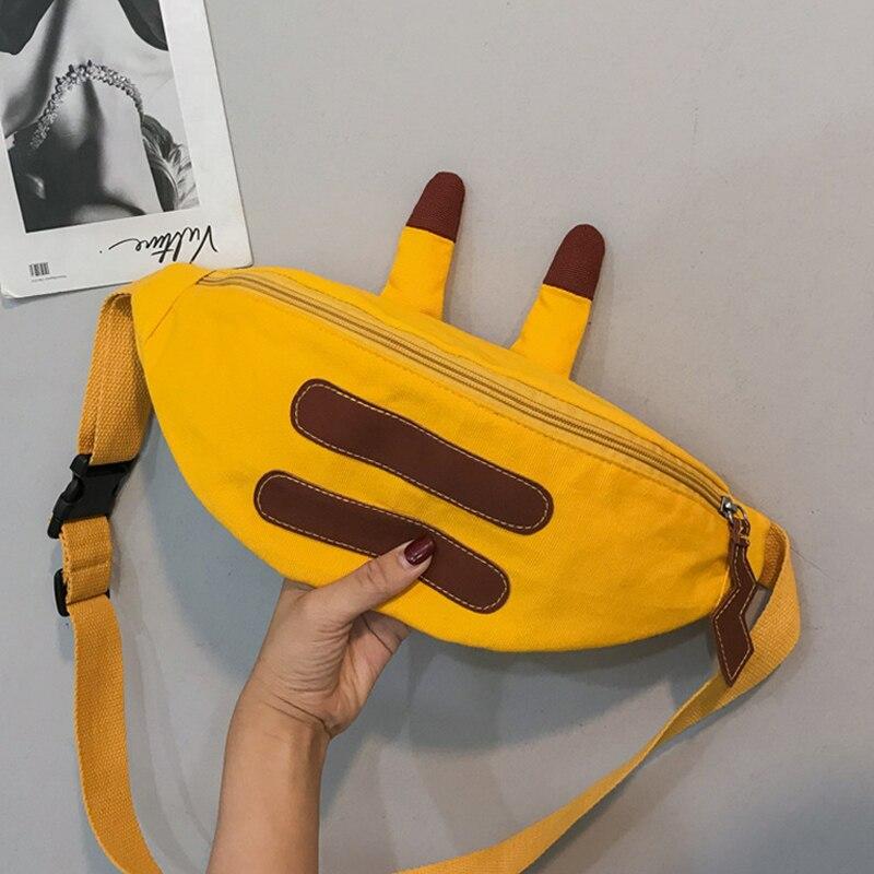 Cartoon Waist Bag For Women 2019 Cute Girl Crossbody Bag Casual Canvas Ladies Chest Shoulder Bags Handy Banana Fanny Pack Female