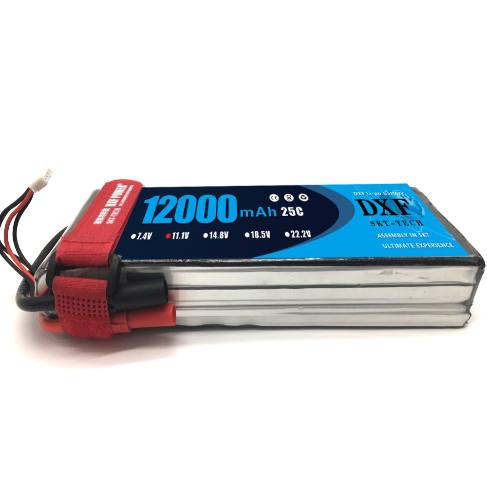 2017 DXF New Arrived RC <font><b>Lipo</b></font> Battery <font><b>12000mAh</b></font> 11.1V <font><b>3S</b></font> 25C 60C Li-polymer Bateria For RC Helicopter Drone FPV UAV Car Boat Drone image