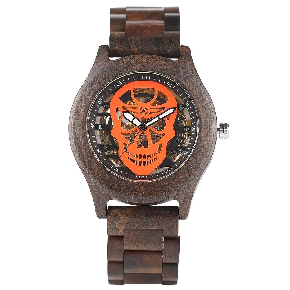 Keller&Weber Automatic Mechanical Wooden Watch Handmade Men Skull Bamboo Wood Wrist Watch relogio masculino keller
