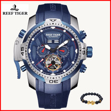 Relogio Masculino 2019 Reef Tiger Luxury Luminous Rubber Men Casual Automatic Calendar Mechanical 100M Waterproof Sport Watches