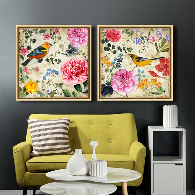 Animal Flowers and birds  canvas painting posters and prints for living room tableau decoration murale cuadros lienzos decorativ