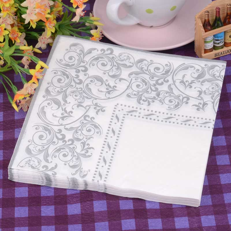 New Personalized Table Paper Napkin Tissue Patterned White