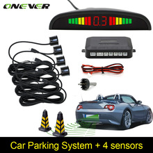 Parktronic carro Auto LED Sensor de Estacionamento Com Sensores 4 Reversa Backup Car Monitor de Estacionamento Radar Detector Sistema de Iluminação Do Display(China)