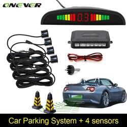Coche Auto Parktronic LED Sensor de aparcamiento con 4 sensores de respaldo inverso coche aparcamiento Radar Monitor SISTEMA DE Detector Pantalla de retroiluminación
