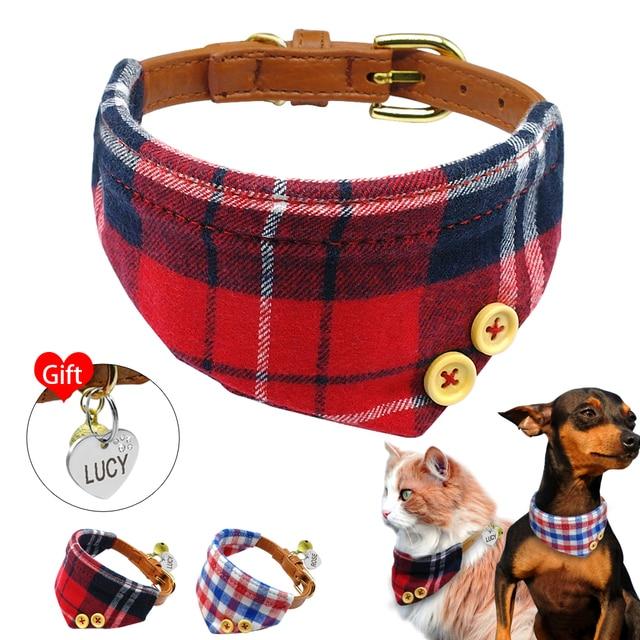 e0d3f988dcc9 Bandana de perro a cuadros personalizada cachorro perro gato ID etiqueta Collar  mascota Bandana collares para