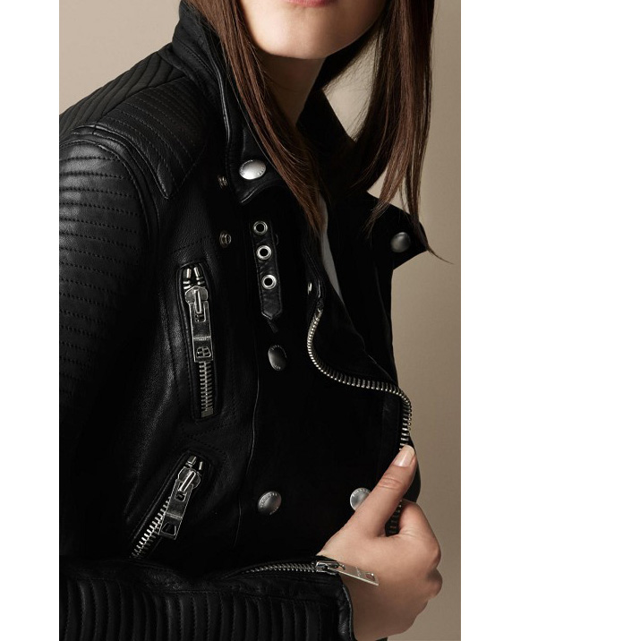 Women Turn Down Collar Rivert Double Breasted Quilted Leather Moto