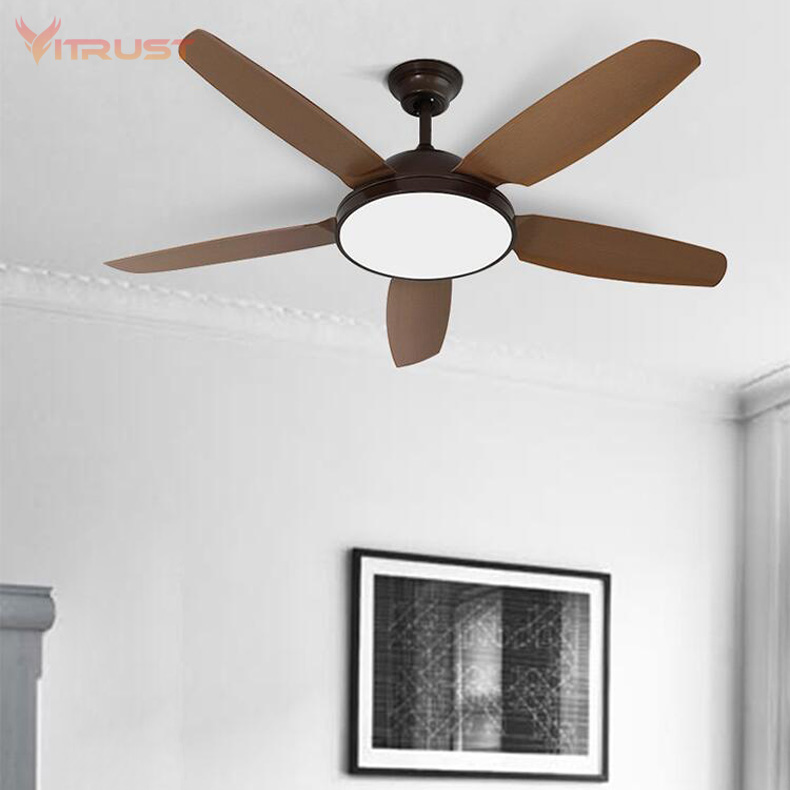 Industrial wind retro ceiling fan with light minimalism modern fan style LED lamp solid 3 wooden blades 52inch 220V