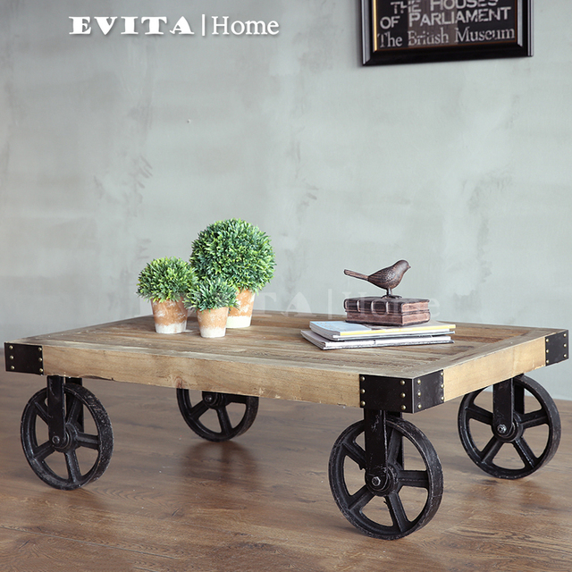 EVITAHOME American LOFT Industrial Wind Do The Old Retro Wheel Coffee Table  Coffee Table Wrought Iron