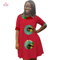 African Clothes for Women Dress T Shirt Women O Neck Cotton Casual Dresses Loose robe femme Half Sleeve Mini Dress BRW WY1713