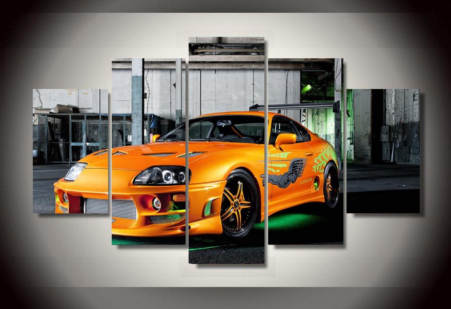 framed printed yellow sports car picture painting wall decor print poster picture canvas free shipping