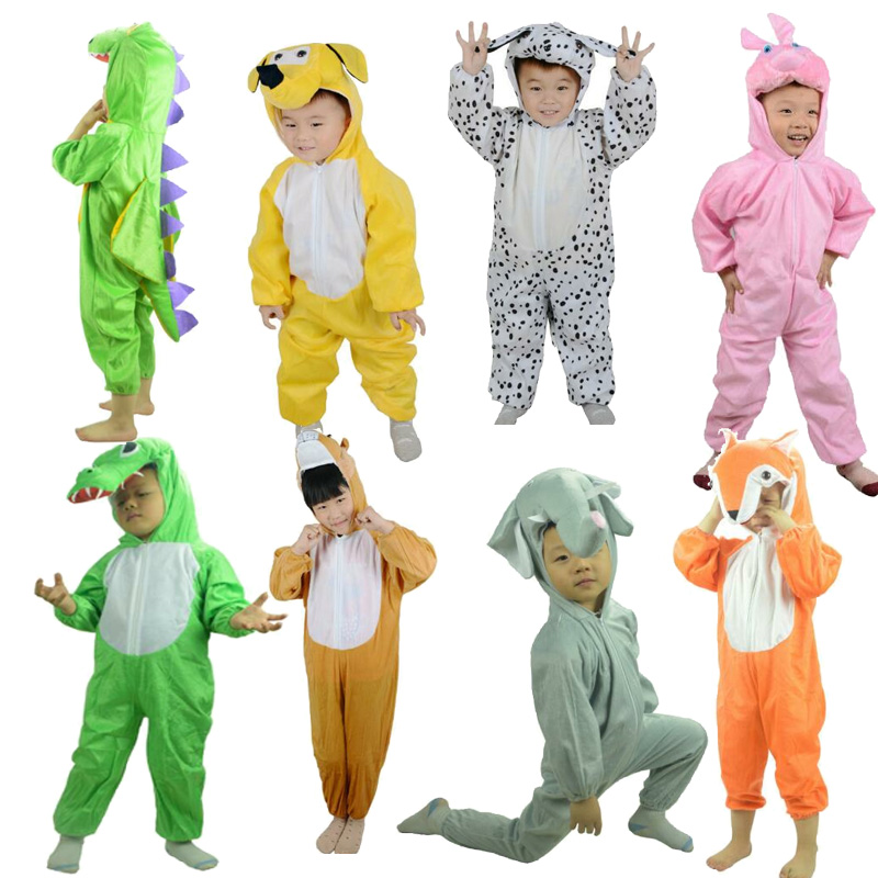 Children Kids Animal Costume Cosplay Dinosaur panda Bee Halloween Animals Costumes Jumpsuit for Boy Girl School perform