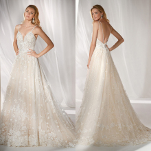 Simlple Silky Organza Bridal Gown Backless Wedding Dress