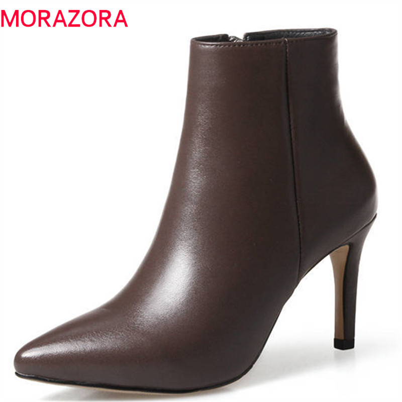 MORAZORA 2018 new arrive pointed toe short plush autumn winter ladies boots zipper ankle boots for women high heels shoes woman цены онлайн