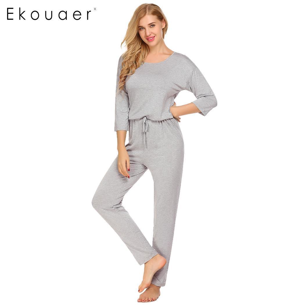 5dfeedb3b6 Detail Feedback Questions about Ekouaer Women Sleepwear One Piece Pajamas  Long Onesie Casual Solid 3 4 Sleeve O Neck Drawstring Keyhole Loose Onesies  ...