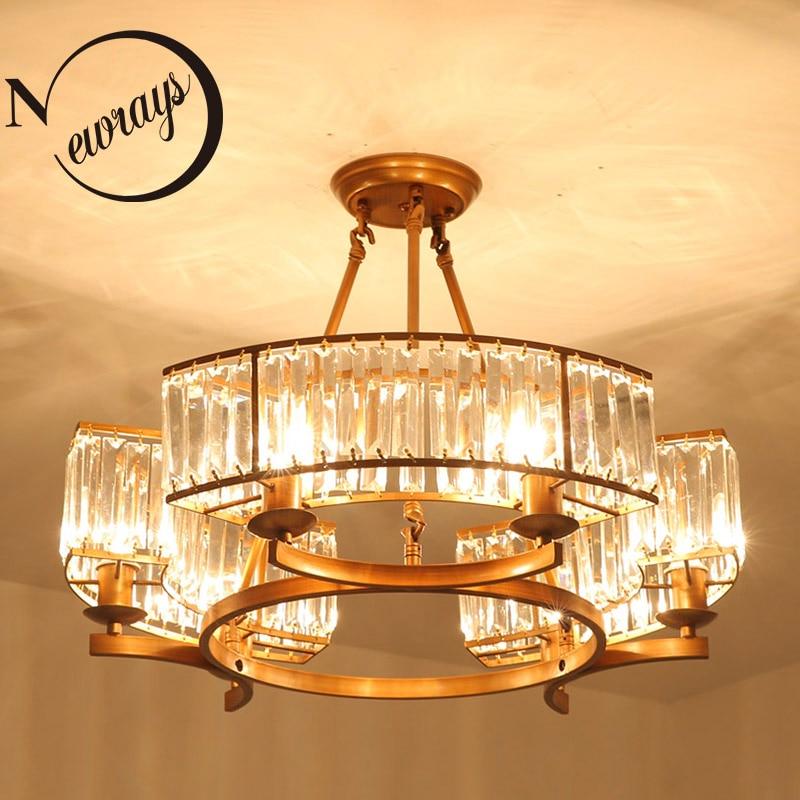 Современные промышленные Кристалл 6 светильники Потолочные светильники E14 светодио дный потолочный светильник для гостиной спальня Рестор