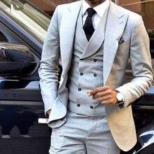 Custom Light Grey Men Suits Double Breasted Slim Fit Skinny 3 Pieces Groom Tuxedos Wedding Suits Men Blazer (Jacket+Pant+Vest)