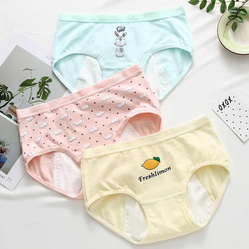 Leak Proof Menstrual Period   Panties   Women Print Cotton Health Pants Low Waist Briefs Female