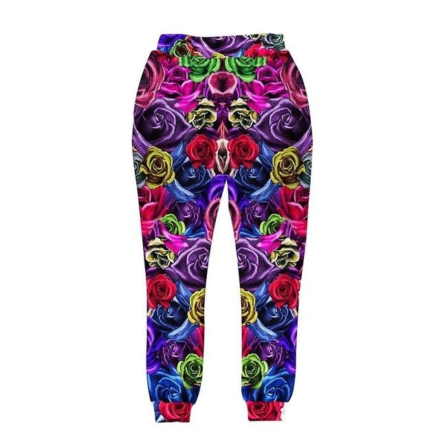 Novo estilo de homens/mulheres 3d harem pant impressão rosas coloridas flores calças compridas corredores hip hop pant