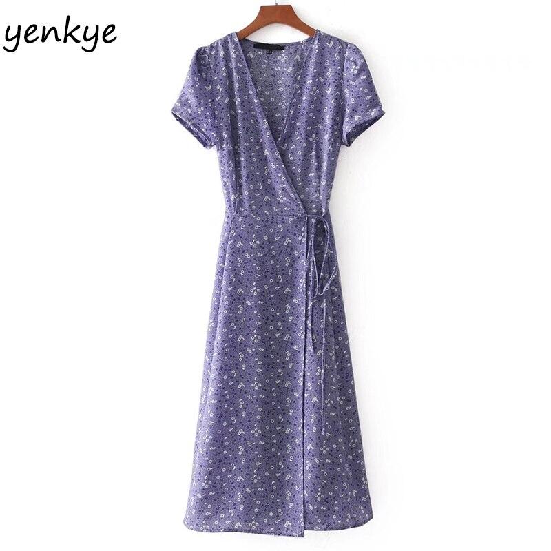 Women Lavender Floral Summer Dresses Sexy Cross V Neck Short Sleeve Tie Waist  A-line Wrap Midi Dress Vestidos Verano