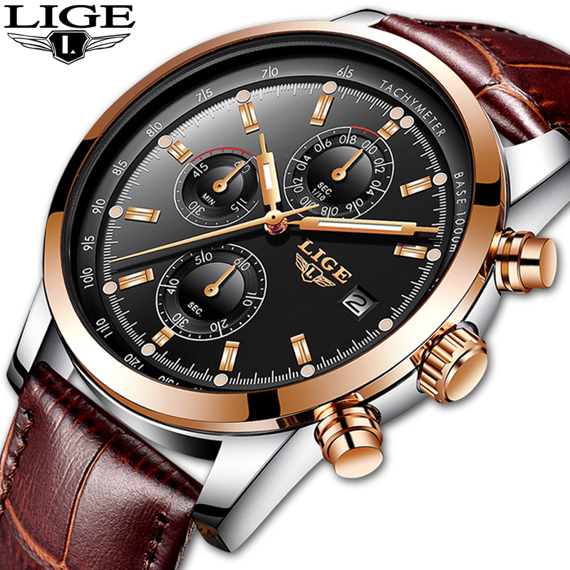 LIGE New Mens Watches Top Brand Luxury Casual Date Quartz Watch Men Leather Sport Waterproof Clock Gold Watch Relogio Masculino in Quartz Watches from Watches