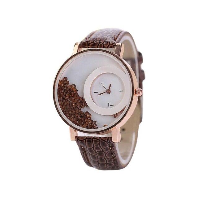 Watch Woman PU Leather Quicksand Rhinestone Quartz Watch Bracelet Watches Ladies