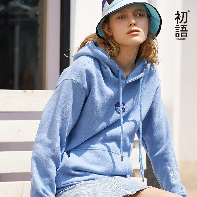Toyouth Women Long Sleeve Top Harajuku Sweatshirt Loose Hoodies Sweatshirts Winter Pullover Sweatshirts Casual Letter Tops