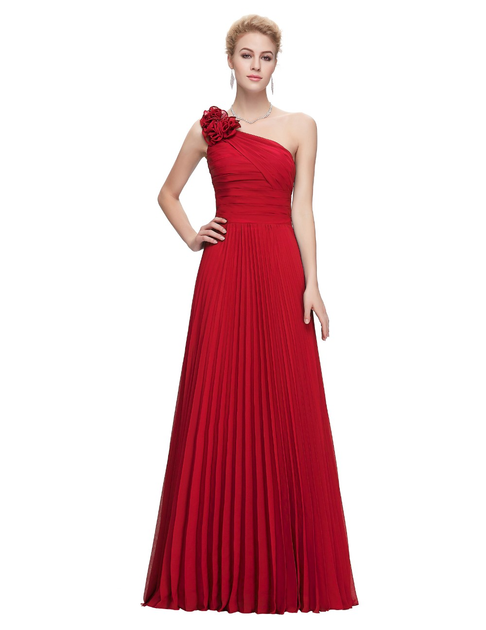 Grace Karin Chiffon Long Evening Dress One Shoulder Pleated Red Green Purple Royal Blue Formal Evening Dress Party Gowns 2018 11