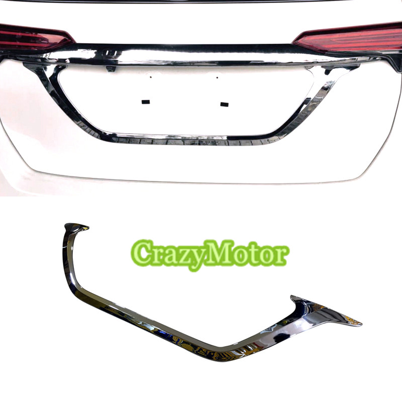 For Toyota Fortuner 2016 2017 AN160 <font><b>Car</b></font> Rear Trunk Back License <font><b>Plate</b></font> Under Strip Frame Cover Trim Accessories <font><b>car</b></font> styling