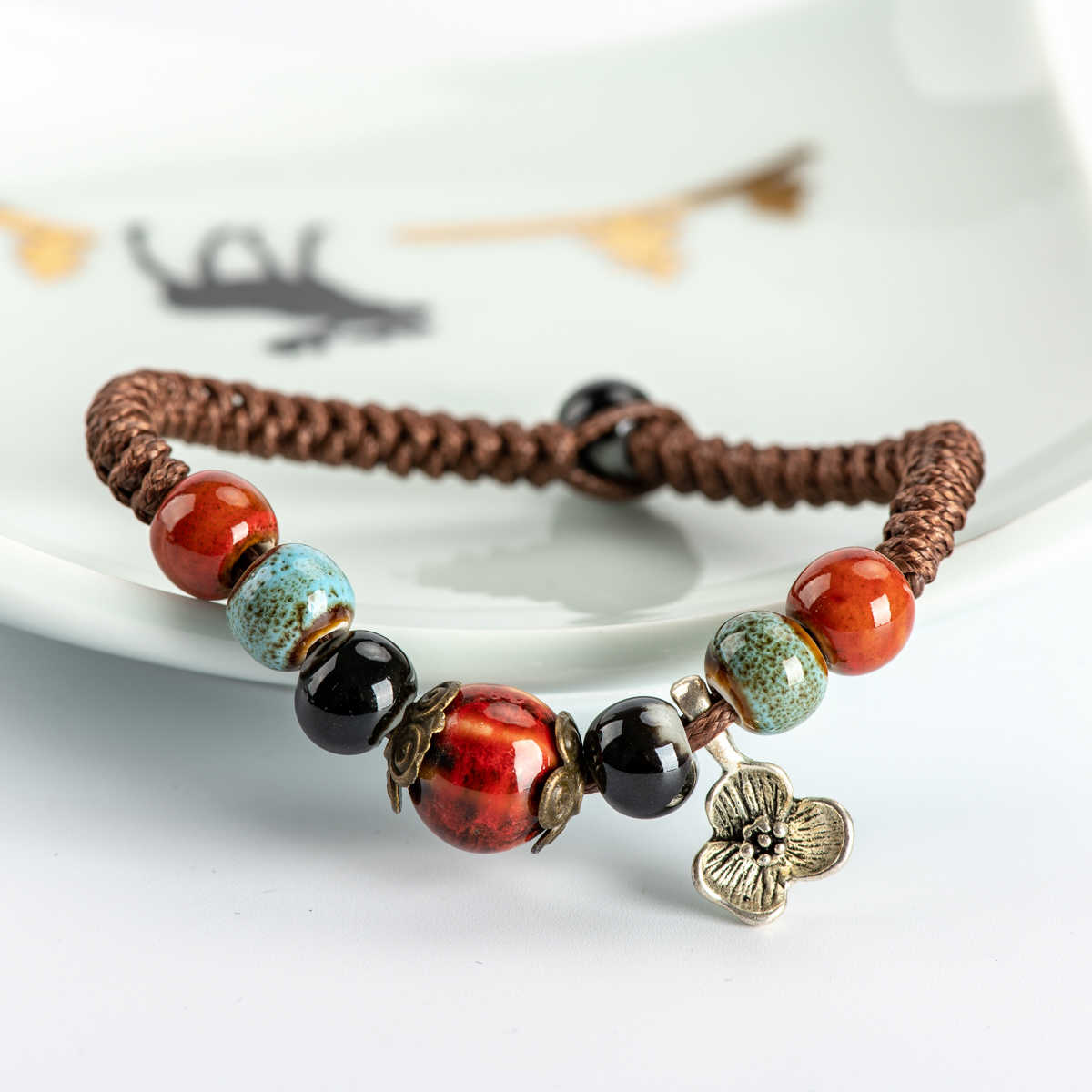 Porcelain Rope Bracelets  Bohemian Wrap  Ethnic ceramics Jewelry for ladies wholesale #HY561