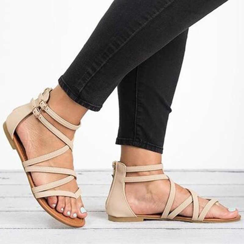 Giày Xăng Đan Nữ Plus Size 35-43 Đế Bằng Mùa Hè Mới Giày Sandal La Mã Phong Cách Cổ Điển Giày Sandal Ngang Chéo Dây Nữ Giày Nữ đấu Sĩ Giày