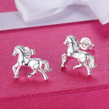 Pure Silver 925 Stud Earrings for Women Cute Horse Earing Brincos Femme Fashion Jewelry Accessories