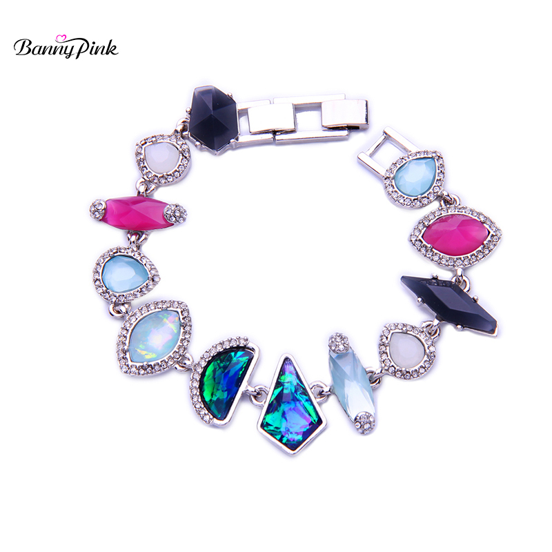 Banny Pink Elegant Alloy Geo Statement Chain Bracelet For Women Cute Resins Chamrs Metal Bracelet Fashion Hand Jewelry Pulseras