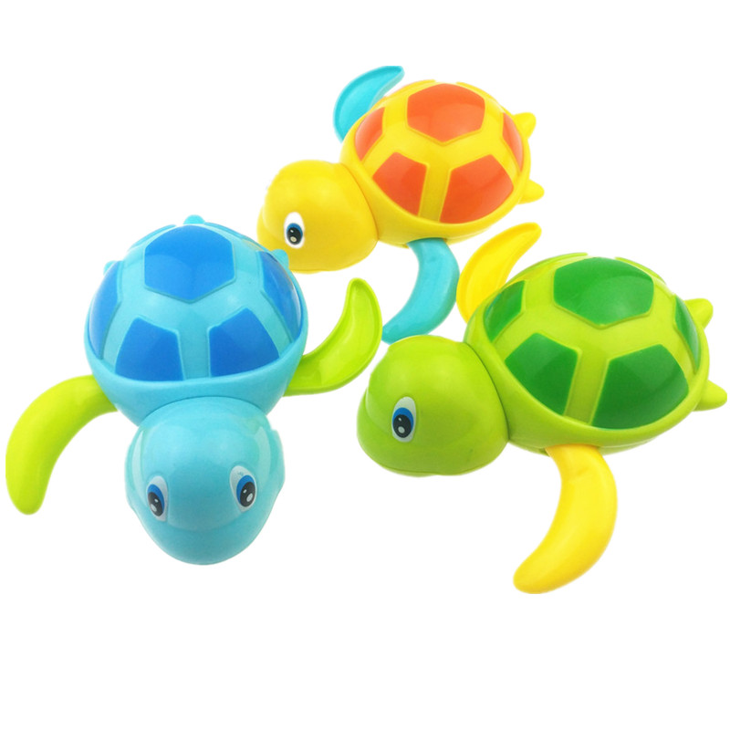 1pc Newborn Cute Cartoon Animal Tortoise Baby Bath Toy Infant Swim Turtle Chain Clockwork Classic Toys Kid Educational Toys newborn baby bath toy cute cartoon animal water thermometer duck bear pig crocodile cow kids temperature tester bathroom toys