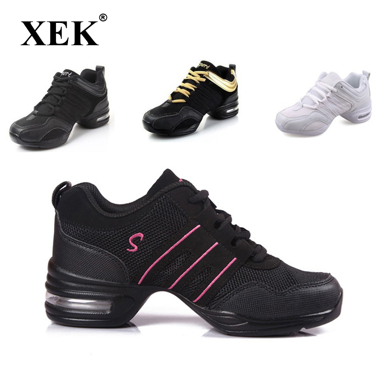 2018 Sports Feature Soft Outsole Breath Dance Sko Sneakers For Woman Practice Shoes Moderne Dance Jazz Spring Sneaker gratis gave