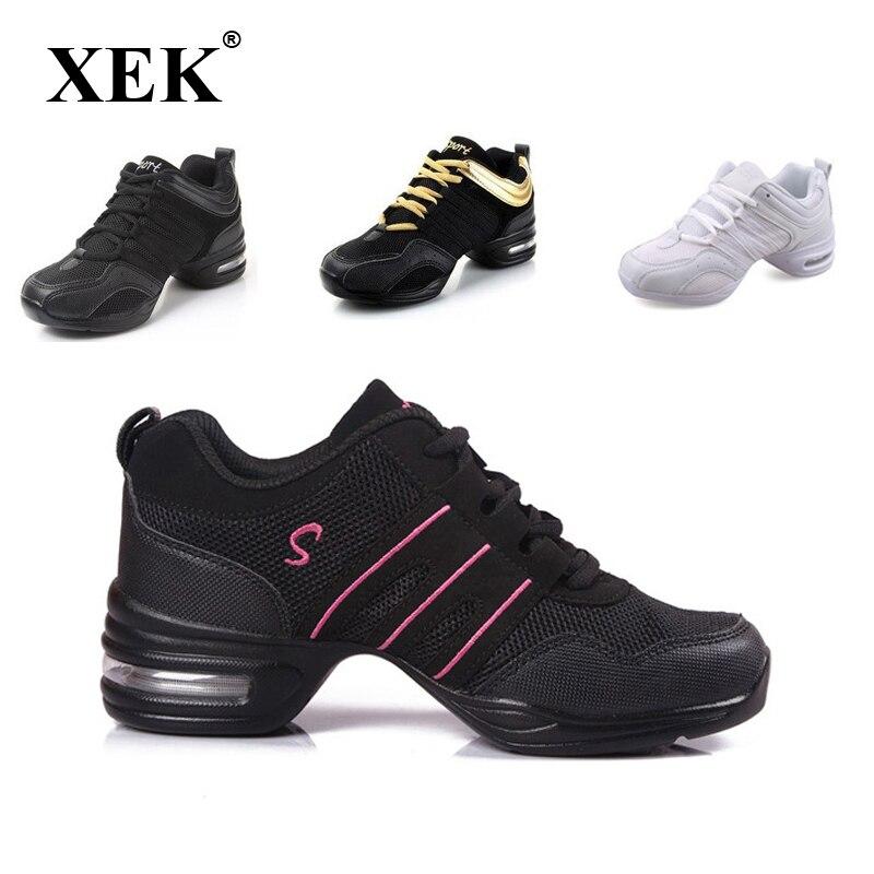 Zapatillas de deporte 2018 con suela suave para bailar el aliento zapatillas de deporte para mujer zapatos de práctica danza moderna Jazz primavera zapatillas regalo gratis