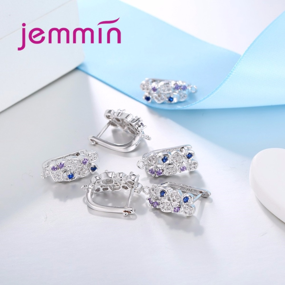Jemmin S925 Slterling Sliver Earrings Inlay Colorful Micro Crystal - Fine Jewelry - Photo 2