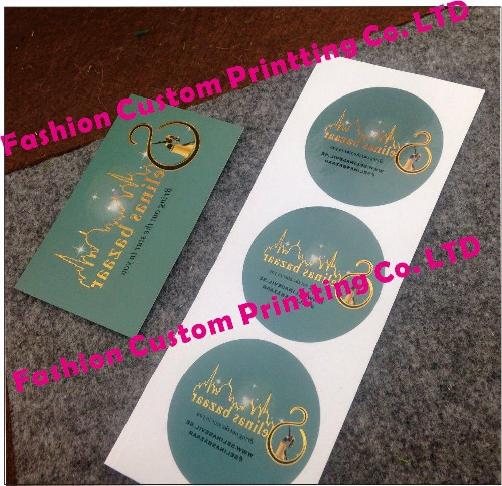 Round Golden Logo Sticker Label Custom Full Colour Logo& Business ...