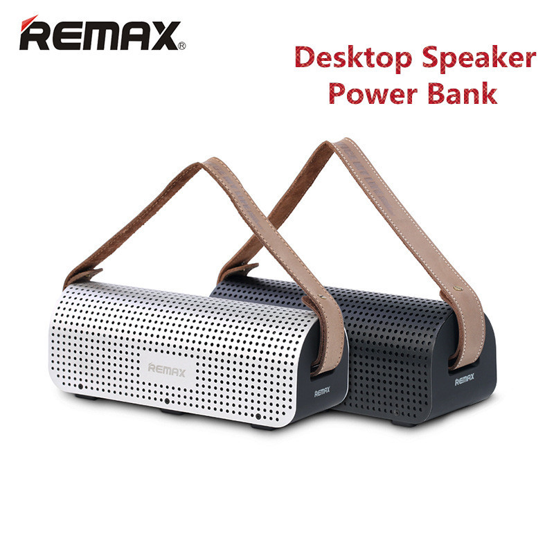 REMAX H1 Desktop Speaker Leather Straps Power Bank Mini Portable speaker RB-H1 HiFi box and 8800mAh power bank 2 in 1 function remax rb m6 desktop bluetooth4 0 speaker portable wireless mic stereo bass surrounded sound nfc fm hifi for phone laptop tablet