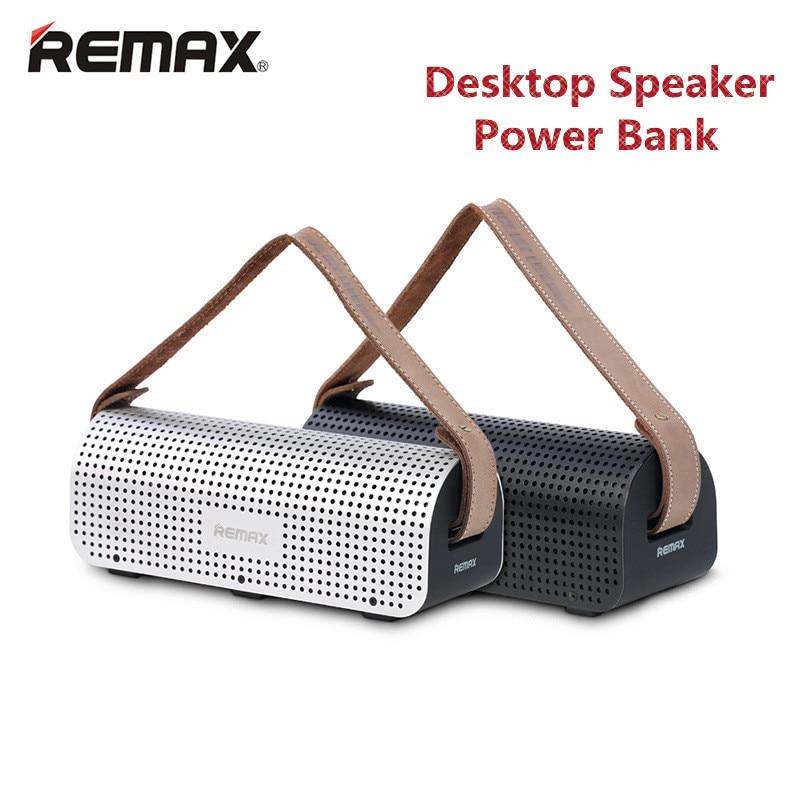 REMAX H1 Desktop Speaker Leather Straps Power Bank Mini Portable speaker RB-H1 HiFi box and 8800mAh power bank 2 in 1 function