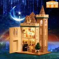 Venta Casa de muñecas hecha a mano Diy casa de muñecas miniatura de madera muebles casa de muñecas juguetes para niños Regalo de Cumpleaños K012